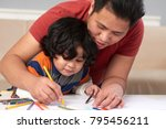 filipino father and son drawing ... | Shutterstock . vector #795456211