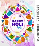 colorful traditional holi... | Shutterstock .eps vector #795457399