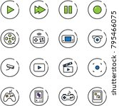 line vector icon set   play... | Shutterstock .eps vector #795466075