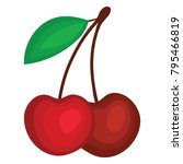 flat design icon of cherry in...