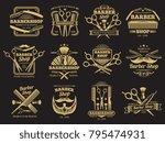 old golden barbershop vector... | Shutterstock .eps vector #795474931