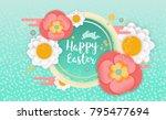 happy easter horizontal banner. ...   Shutterstock .eps vector #795477694