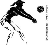 volleyball female player... | Shutterstock .eps vector #795479494