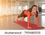 positive girl doing variation... | Shutterstock . vector #795480535