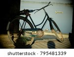 the old steel bicycle park on... | Shutterstock . vector #795481339