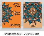 two cards for indian style... | Shutterstock .eps vector #795482185