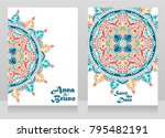 two cards for indian style... | Shutterstock .eps vector #795482191