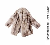 Real Fox Fur Coat Isolated On...