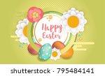 happy easter horizontal banner. ...   Shutterstock .eps vector #795484141