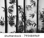 black and write bamboo... | Shutterstock . vector #795484969