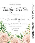 wedding invitation  floral... | Shutterstock .eps vector #795490717
