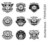 volleyball emblems on white... | Shutterstock .eps vector #795491035
