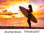 surfer bikini girl on hawaii... | Shutterstock . vector #795492457