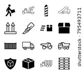 shipping icons. set of 16... | Shutterstock .eps vector #795493711