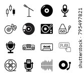 record icons. set of 16... | Shutterstock .eps vector #795497821
