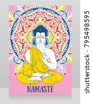 poster with buddha in... | Shutterstock .eps vector #795498595