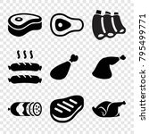 barbecue icons. set of 9... | Shutterstock .eps vector #795499771