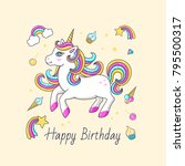 happy birthday card with cute... | Shutterstock .eps vector #795500317