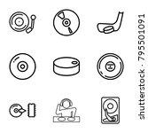 disc icons. set of 9 editable... | Shutterstock .eps vector #795501091