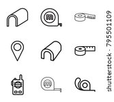 distance icons. set of 9... | Shutterstock .eps vector #795501109