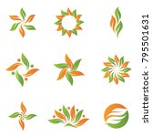 green plant leaf icon symbol set | Shutterstock .eps vector #795501631