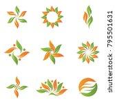 green plant leaf icon symbol set | Shutterstock .eps vector #795501631