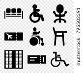 seat icons. set of 9 editable... | Shutterstock .eps vector #795502291