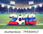 soccer background 2018 with... | Shutterstock . vector #795504517