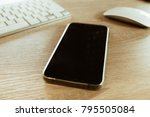 close up shot smartphone on... | Shutterstock . vector #795505084