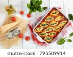 delicious big pasta shells... | Shutterstock . vector #795509914