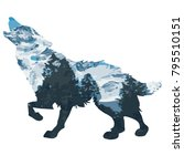 wolf double exposure mountain... | Shutterstock .eps vector #795510151