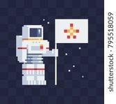 astronaut holding flag. pixel... | Shutterstock .eps vector #795518059