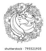 unicorn and flowers. magical... | Shutterstock .eps vector #795521935