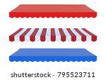 3d rendering awning canopy or... | Shutterstock . vector #795523711