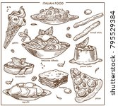 italian cusine sketch dishes... | Shutterstock .eps vector #795529384