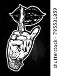 human girl tattooed hand with... | Shutterstock .eps vector #795531859