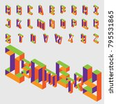 isometric hollow letters in... | Shutterstock .eps vector #795531865