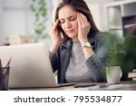 working woman have a headache | Shutterstock . vector #795534877