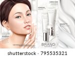 skin care ads  white tube with... | Shutterstock .eps vector #795535321
