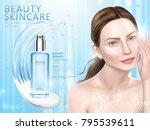 skin care ads  liquid and cream ... | Shutterstock .eps vector #795539611