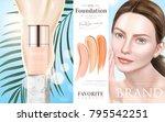 foundation makeup ads ...   Shutterstock .eps vector #795542251
