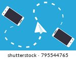 two wireless connected... | Shutterstock .eps vector #795544765