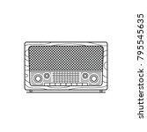 retro radio on white background.... | Shutterstock .eps vector #795545635