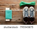 travel items for hiking tourism ... | Shutterstock . vector #795545875