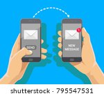 sending love message concept.... | Shutterstock .eps vector #795547531