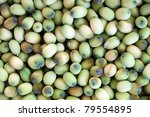 Lotus seed (lian zi) - The lotus seeds are used extensively in traditional Chinese medicine and desserts. - stock photo