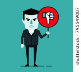 angry businessman holds sign... | Shutterstock .eps vector #795549007