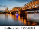 night view of cologne cathedral ... | Shutterstock . vector #795549061