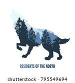 wolf double exposure mountain... | Shutterstock .eps vector #795549694