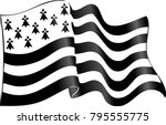 vector flag of brittany waving...